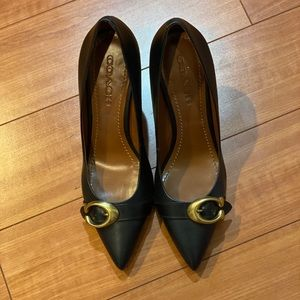 Coach heels with gold logo  size 9.5